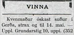 Vísir40tbl.17.02.1926_Kvenmadur_Gerda