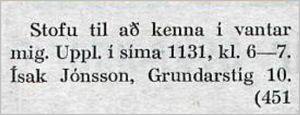 Vísir247tbl.11.09.1929_Ísak_Jónsson-v-stofu