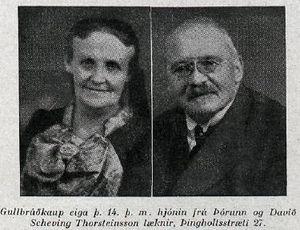 Davíð Scheving Thorsteinsson læknir og Þórunn Thorsteinsson - Gullbrúðkaup. Mynd úr Fálkanum 06.07. 1935