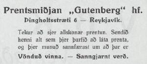 Auglýsing frá prentsmiðjunni Gutenberg í Óðni frá 1923
