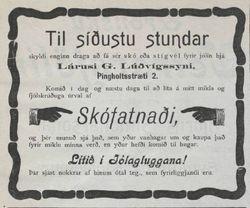 Augl. Skóverslun Lárusar G. Lúðvígssonar, Þjóðólfur 18.12.1908
