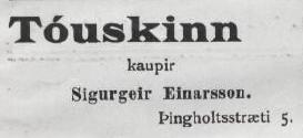 Tóuskinn augl. Lögrétta 18.09.1912