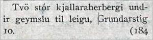 Vísir205tbl.06.09.1927_Kjallaraherb._leiga