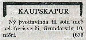Vísir_91tbl.22.04.1927_Thvottavinda_sala