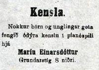 Píanókensla - María Einarsdóttir