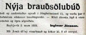 Ný brauðsölubúð í Þingholtsstræti 15, 1922