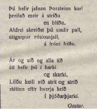 Þorsteinn Gíslason fimmtugur - vísa birt í Höfuðstaðnum 26.1.1917