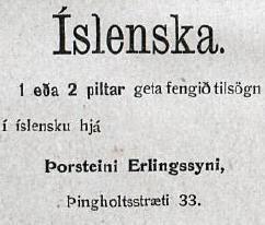 Þorsteinn Erlingsson, auglýsing frá 1912