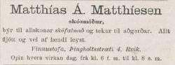 Matthias Matthiesen skósmiður, auglýsing  18.10. 1893 í Nordurljósinu