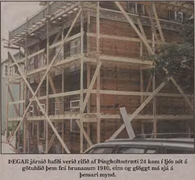 Þingholtsstr24 sot eftir bruna 1910, Mbl. 28. okt. 1997