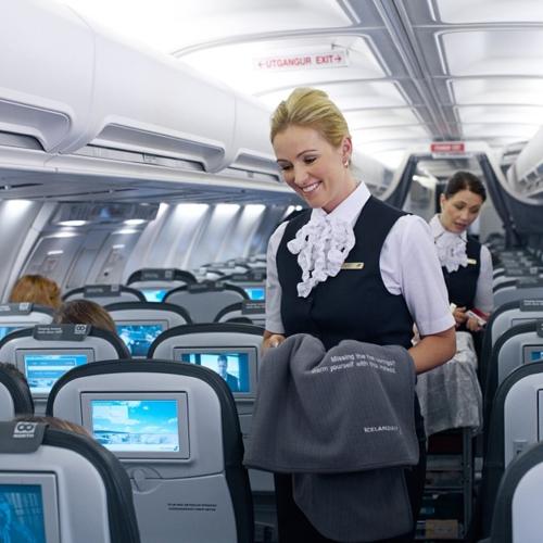 Um borð í vél frá Icelandair